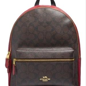 Coach Medium Charlie Backpack Signature Canvas Red